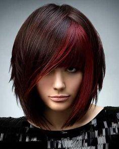 Fashion Medium Full Bang Heat Resistant Fiber Attractive Red Highlight Straight Wig For Women