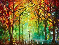 October In The Forest  PALETTE KNIFE Landscape by AfremovArtStudio