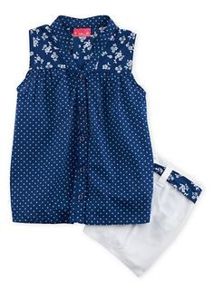 Girls 7-14 Printed Tank Top with Belted Shorts Set,WHITE