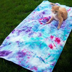 Field of Fireworks Beach Towel - Learning how to tie dye a beach towel is a great way to fix an old, yellowed towel.