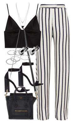 """""""Outfit with striped trousers"""" by ferned on Polyvore featuring Nicholas, T By Alexander Wang, Zara, House of Harlow 1960 and Apt. 9"""