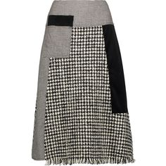 Raoul - Fringed Paneled Wool-blend Tweed, Velvet And Houndstooth Skirt ($185) ❤ liked on Polyvore featuring skirts, black, print skirt, raoul skirt, velvet skirt, draped skirt and wool blend skirt