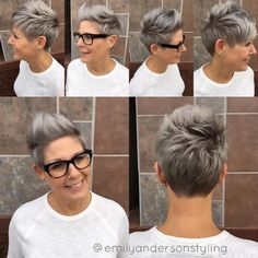 Spiky Brown and Gray Pixie Here is a textured pixie cut that anyone can have fun with! Urban Hairstyles, Undercut Hairstyles, Cool Hairstyles, Edgy Pixie Hairstyles, Short Grey Hair, Short Hair Cuts, Short Hair Styles, Funky Short Hair, Cheveux Courts Funky