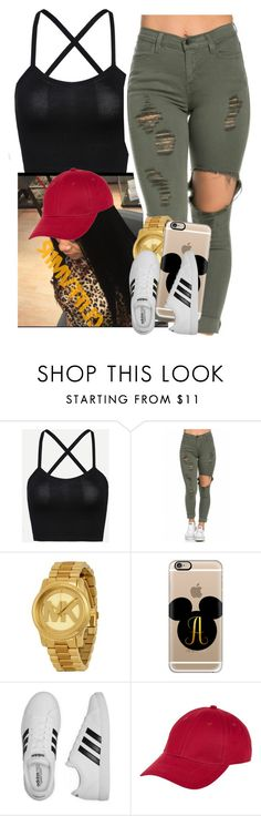 """Getting my hair done for club tonight"" by saucinonyou999 ❤ liked on Polyvore featuring Michael Kors, Casetify, adidas and New Look"