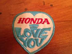 1970s Patch Honda I Love You by RustedFew on Etsy, $8.99