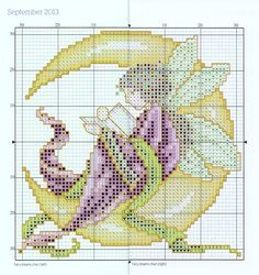 """Fairy Dreams Chart"" (September) from ""Joan Elliott's 2013 Stitcher's Diary"" from ""The World of Cross Stitching"" magazine. Apologies for the thick line down the centre, but the chart straddles two page of a not very flexible hardback book. The main cross stitches are worked in 2 strands of stranded cotton and the chart lists the colour numbers for Anchor, DMC and Madeira threads. On 14ct canvas the design measures about 12cm/4.75"" square."