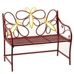 Adorable metal butterfly bench!