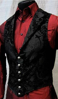 I like this style of vest (mmmm silver buttons and such a beautiful pattern) and shirt better for under-jacket wear. It seems a little more formal and I like the red more than just going all black