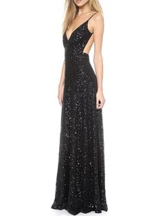 Black Spaghetti Strap Sequined Backless Maxi Dress