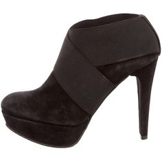 Stuart Weitzman Suede Round-Toe Booties (820 DKK) ❤ liked on Polyvore featuring shoes, boots, ankle booties, black, platform boots, suede booties, black platform booties, black booties and black boots