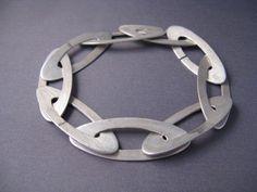 Modern Sterling Silver Oval Bracelet by tiachia on Etsy