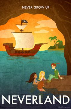 """Neverland Poster"" by Dani Jones. Never grow up! Visit Neverland and hang out with mermaids. Disney Dream, Disney Girls, Disney Love, Peter Pan And Tinkerbell, Peter Pan Disney, Disney Fanatic, Disney Addict, Arte Disney, Disney Magic"
