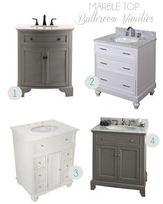 Marble Top Bathroom Vanities - love the gray