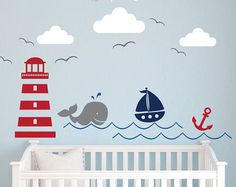 Nautische Thema Wand Aufkleber - Kinderzimmer-Wandtattoo - Wal Abziehbild - Segelboot-Wandtattoo - nautische Baby Kinderzimmer Wandgestaltung - kleine Segler Abziehbild