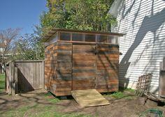 8x10' studio/shed built in Petaluma, CA features rain-screen siding built of reclaimed redwood fencing