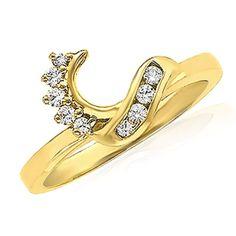 10k Solid Yellow Gold Diamond Wrap Style Soltiare Enhancer Ring Guard .17 Carat #gemdepot #WithDiamond #BlackFridaysDeals