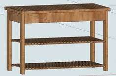 Wooden Kitchen Island Plans, by Ana White.  I'd convert it to a cart for my dining room with snacks for kids