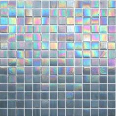 Kaleidoscope ColorGlitz Iridescent Glass Mosaic Tile, sold by the 1.15 s.f. sheet - Sunset Strip Silver