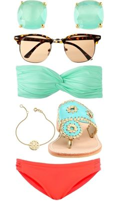 Loving the mint & coral combinations this season. Looks very vibrant and fresh. Ready for summer Summer Of Love, Summer Wear, Spring Summer Fashion, Summer Outfits, Summer Time, Summer Pool, Summer Chic, Summer Baby, Summer Colors