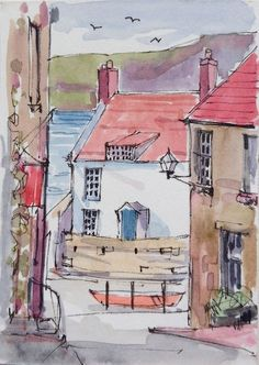 Image result for watercolour robin hoods bay