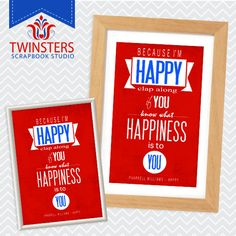 """Because I'm HAPPY - printable home wall decor 8x10"""", 5x7"""" ? wordart TW128 INSTANT DOWNLOAD"""