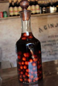 Ginjinha (Ginja), a sweet cheery liquor from Portugal Similar to Port it is lovely with cheese & baguette or just on it's own as an aperitif. Portuguese Culture, Learn Portuguese, Portuguese Recipes, Portuguese Food, Visit Portugal, Portugal Travel, Spain And Portugal, Funchal, Lisbon Portugal