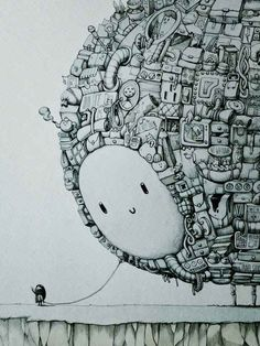 """This piece is called """"The Companion"""". Look At This Artist's Splendid Drawing Of A Little Girl And Her ImaginaryPet  Marija Tiurinais one very talented lady."""