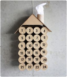 DIY toilet paper roll calendar Christmas