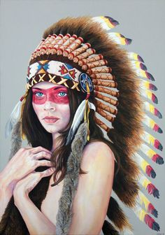 """Native Beauty"""" - Acrylic on large box canvas (70cmx100cm) A large detailed portrait of a beautiful model wearing a traditional Native American War Bonnet by London based Artist Chris Brain."""