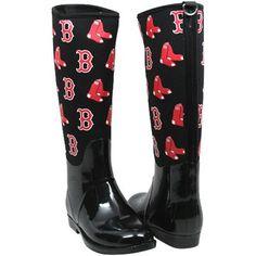 Cuce Shoes Boston Red Sox Womens Enthusiast II Rain Boots - Black