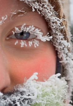 Pretty much sums up this winter ~ icelashes~ Wow! She had to be really cold & wet to have this picture taken! I Love Snow, I Love Winter, Winter Is Coming, Winter Snow, Winter Christmas, Winter Magic, Winter Beauty, Snow Queen, Winter Scenes