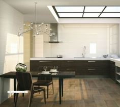 2210 series uses clear and neutral tones to create simple but elegant places. Give strength to your with dark furniture like in the picture. Neutral Tones, Double Vanity, Future House, Tiles, Simple, Dark Wood, Wood Furniture, Strength, Kitchens