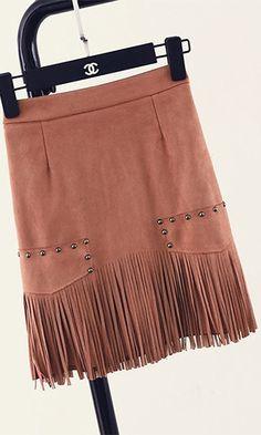 Urban Cowgirl Dark Pink Faux Suede Fringe Stud A Line Mini Skirt