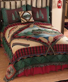 Lake Cabin Bedding  Celebrate the solitude of lake living with the refreshing red and green of the Lake Cabin Tapestry Bedding collection from our Rustic Bedding category. Made of a 90% cotton/10% polyester blend and adorned with a variety of fly fishing motifs, the central scene of a lone cabin stands out as the place where