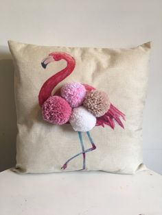 Fabulous Pink Flamingo with full hand made Pom Pom plumage. Pom Pom's are in pinks, with a touch of blue and beige and white, fo Baby Pillows, Throw Pillows, Pom Pom Rug, Pom Pom Cushions, Butterfly Cushion, Felt Pillow, Cushion Cover Designs, Diy Pillow Covers, Diy Cushion