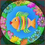 Add color and charm to any envelope, book or surface you desire with this delightful Fishy Fish Sticker.  Each whimsical Fishy Fish is created with vivid tropical colors and surround by a ring of Ocean Flowers.  Personalize the sticker with your name or any text that you choose.  Select several different fish designs so you can mix and match.