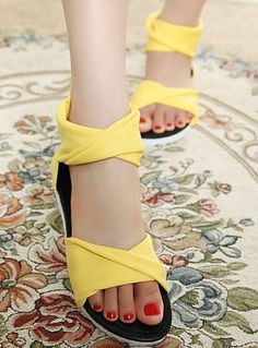 Candy Color Bohemian Style Hollow Out Flat Shoes