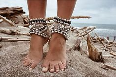 Cowrie Shell Boho PAIR of shoes & ankle cuffs / Natural seeds