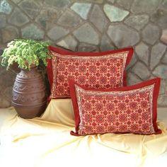 Amazon.com: Ruby Kilim ~ Rustic Red Black Standard Pillow Sham Flanged 25x31: Home & Kitchen