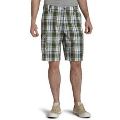 IZOD Men's Madras Cargo Short-Kensico,Alloy Green,38 (Apparel)
