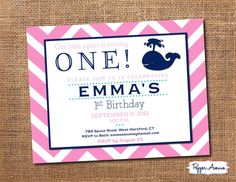 Whale Birthday Party - Navy & Pink Chevron