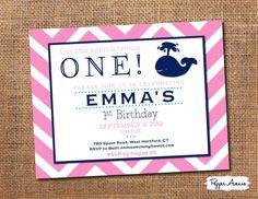Whale Birthday Party - Navy & Pink Chevron