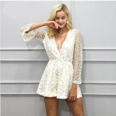 Simplee Sexy lace gold sequin jumpsuit romper Women deep v neck hollow out overalls Summer 2017 long flare sleeve black playsuit Long Sleeve Playsuit, Lace Romper, Rompers Women, Jumpsuits For Women, Sequin Jumpsuit, Elegant Jumpsuit, Jumpsuit Outfit, Black Playsuit, Overalls Women