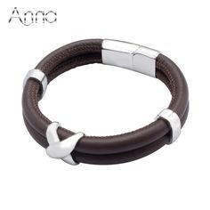 A&N Genuine Leather Bracelet Men Wholesale Trendy Fashion Personality Jewelry Black/Brown Silicone Hiphop Hot Sale Bracelet
