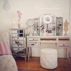 Mirrored vanity and chest. Desk found at Bobs Discount Furniture Vanity Makeup Rooms, Closet Vanity, Vanity Room, Vanity Set, Mirrored Vanity, Makeup Vanities, Vanity Ideas, My New Room, My Room