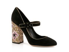 Dolce-Gabbana-black-suede-leather-paillettes-heels-mary-janes-pumps-shoes-NIB