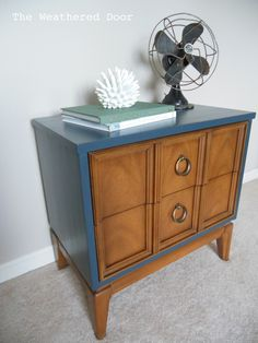 I have another nightstand! This one is mid century… which is one of the styles I absolutely love. Once again it came from my favorite goodwill… the one 2 minutes from our church. We go there allthe time! Last Sunday I got this nightstand which I painted a grey-brown color. My mom also got a …
