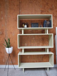Sage Mid Century Bookcase / Sample by ELEMENTSofIRONnWOOD on Etsy I'm in love with this Vintage style bookcase that could be storage for vinyl and bar