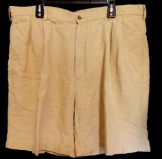 Jos A Bank Travelers Mens Size 42 Shorts Linen Tan Beige Pleated Front Golf #JosABank #DressShorts