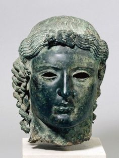 """The Chatsworth Head, Ancient Greece, 470 BC-460 BC. """"The statue was found complete by peasants in 1836 in the bed of the Pediaeos river in central Cyprus."""